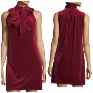 NWT Red Velvet Tie Neck Cocktail Shift Midi Dress